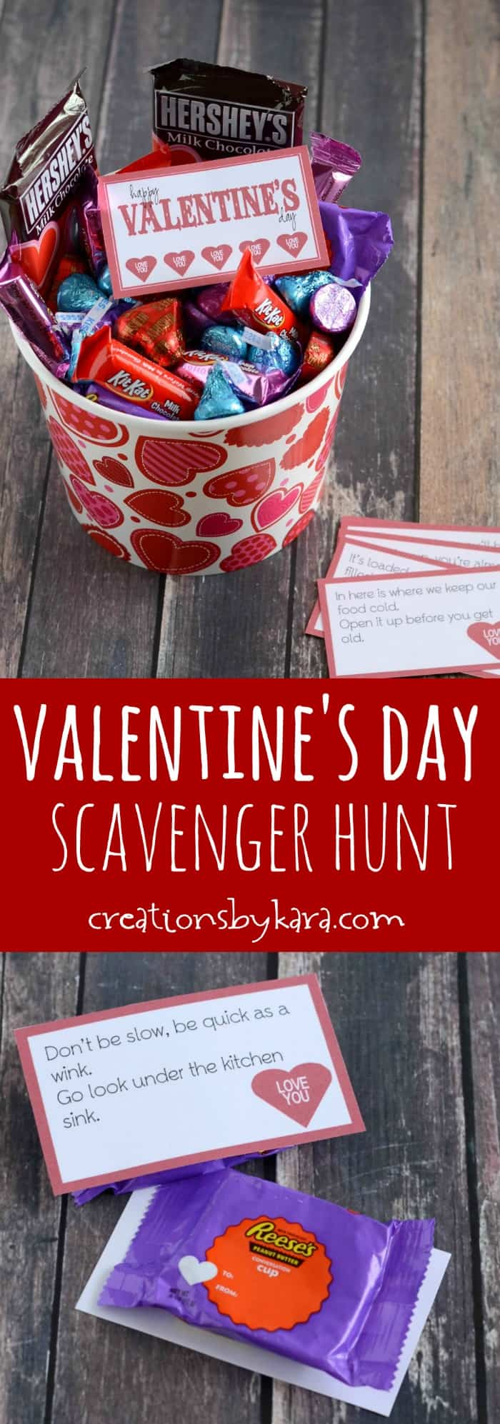 Valentines Day scavenger hunt clues with candy