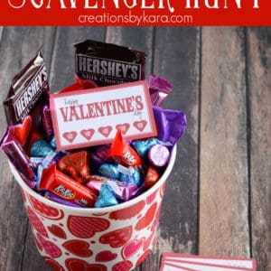 valentine scavenger hunt clues and basket of candy