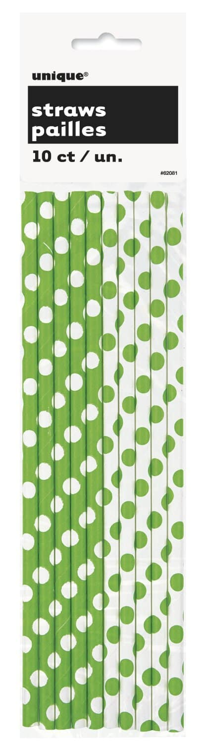 polka dot green straws