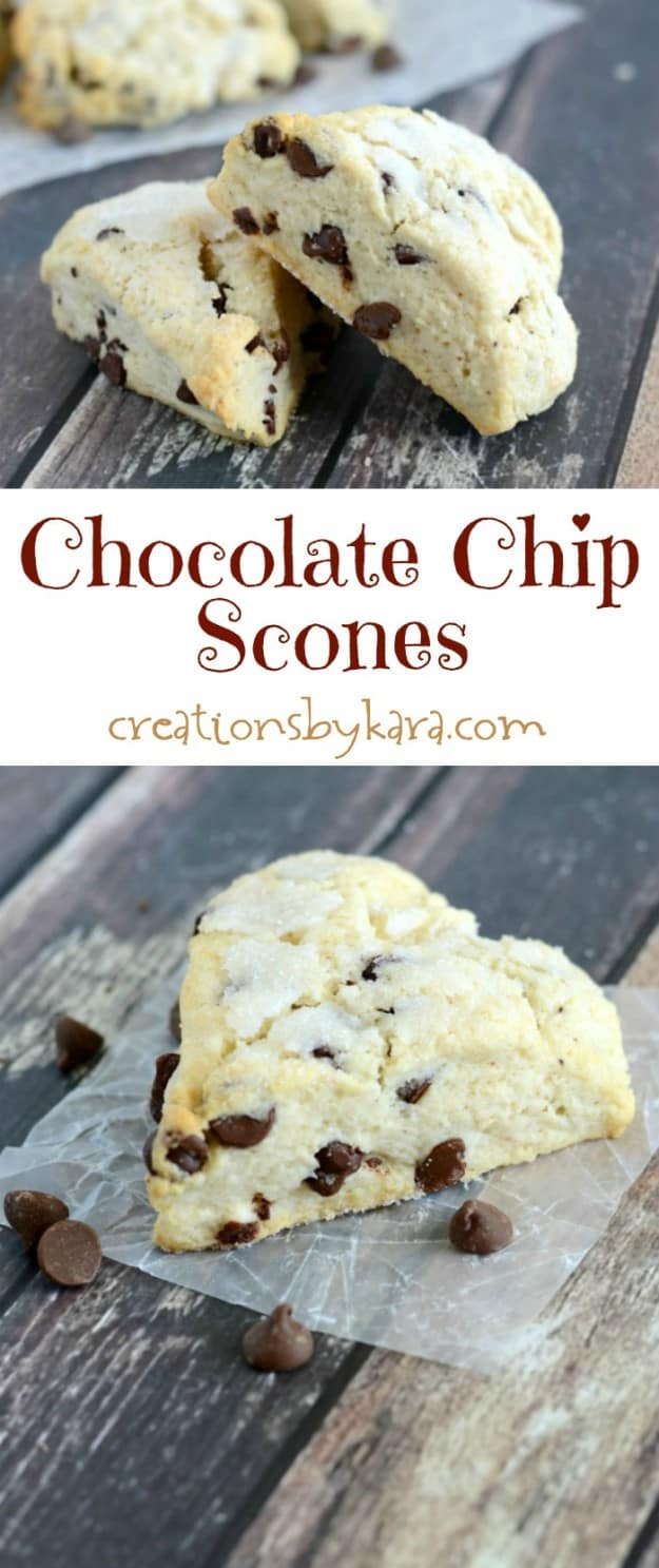 Chocolate Chip Scones recipe collage