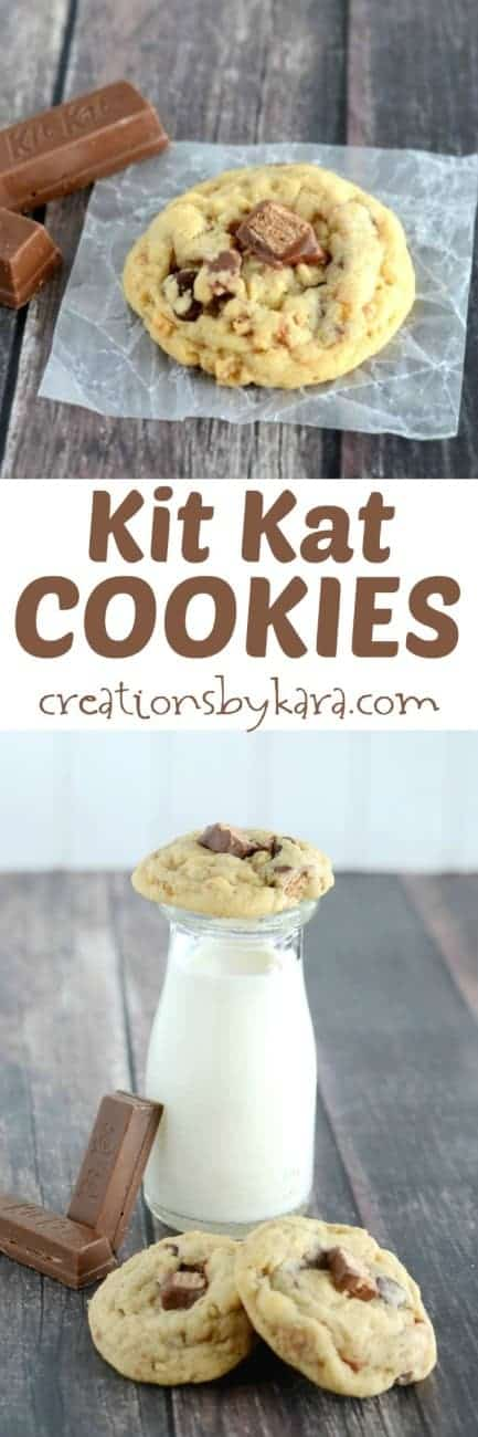 Recipe for chocolate chip Kit Kat Cookies.