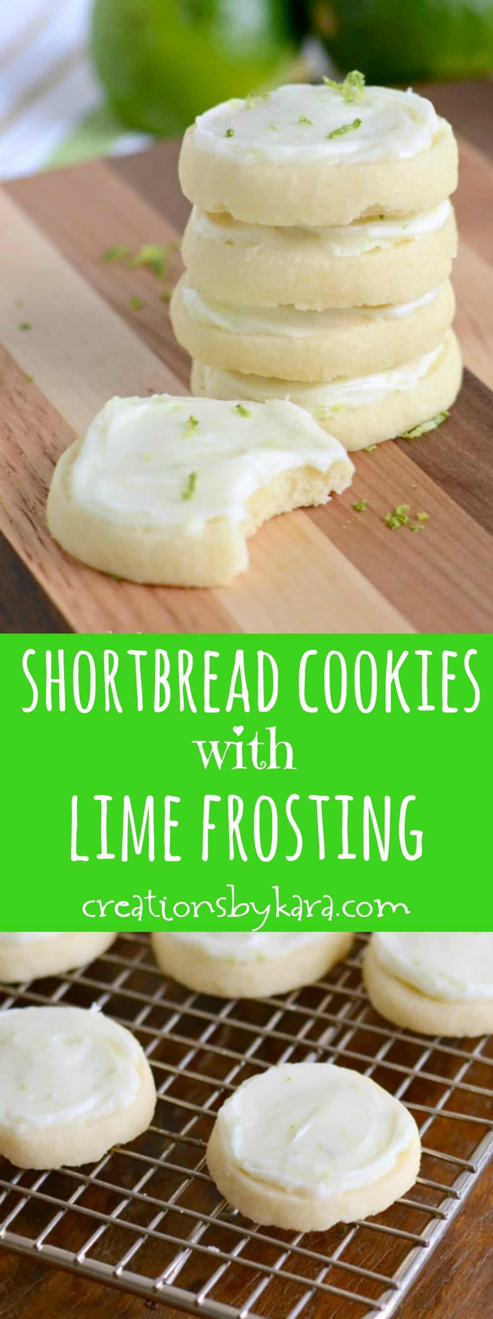 Shortbread Cookies with Lime Cream Cheese Frosting - these butter cookies just melt in your mouth!