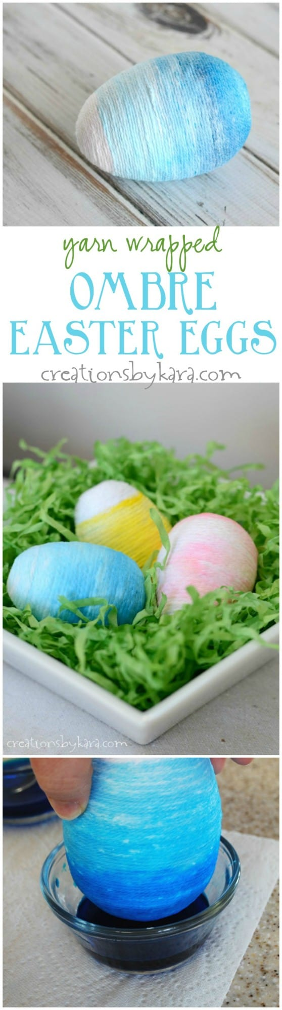 Yarn Wrapped Ombre Easter Egg Tutorial-