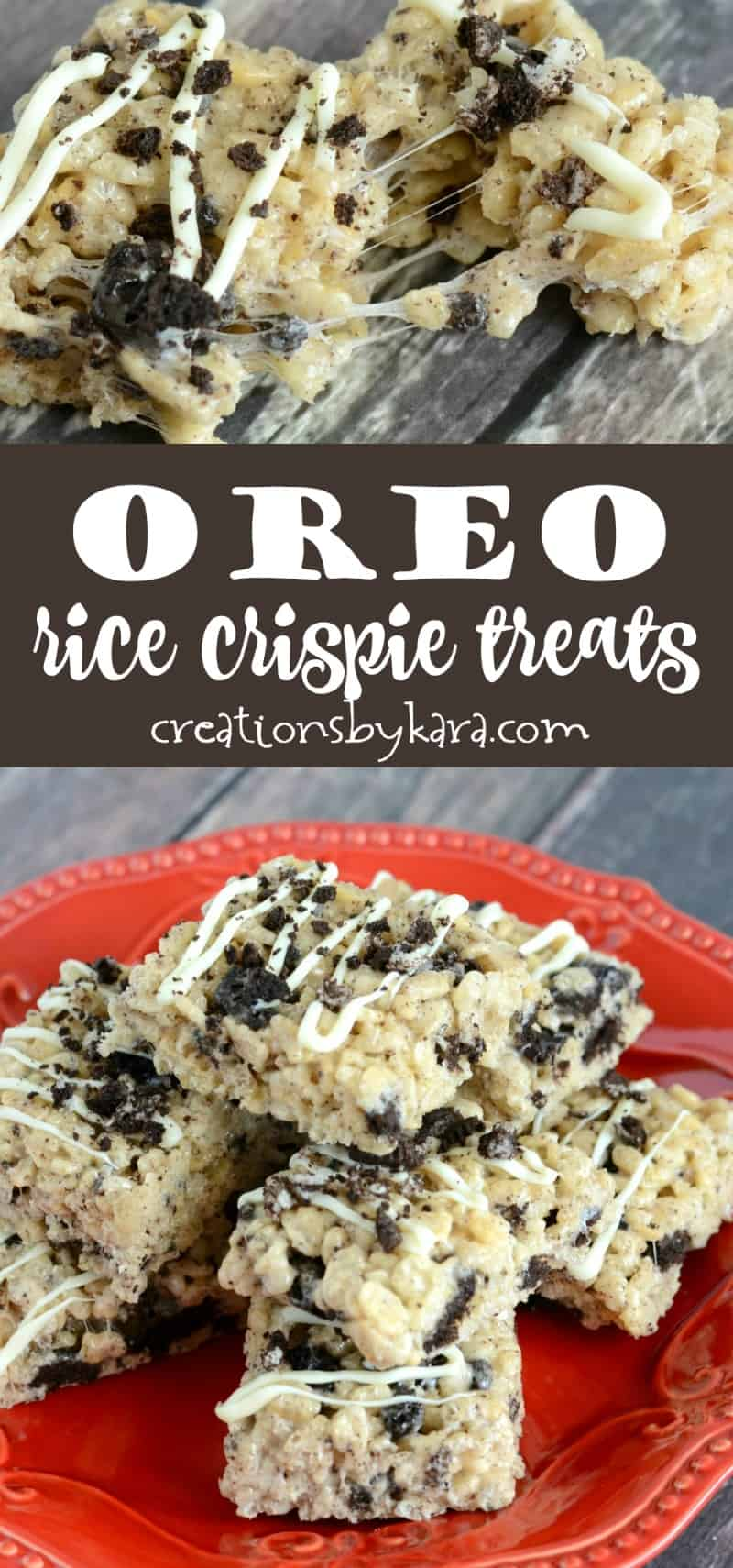 Oreo Rice Crispy Treats - ooey gooey rice crispy treats loaded with chunks of Oreos. Drizzle them with white chocolate for an extra special treat! #oreos #ricecrispytreats