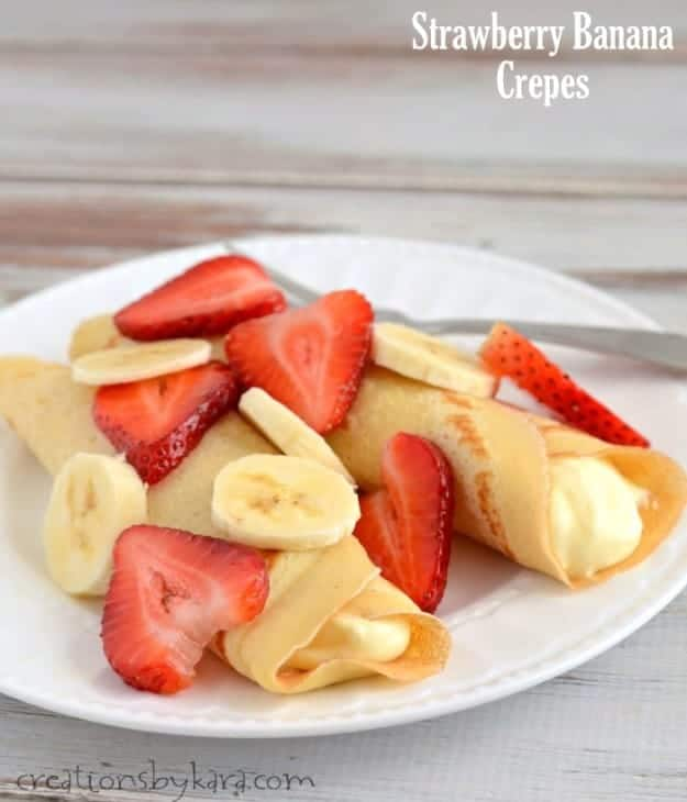 An easy crepe recipe -- Strawberry Banana Crepes with a cheesecake filling. These are divine!