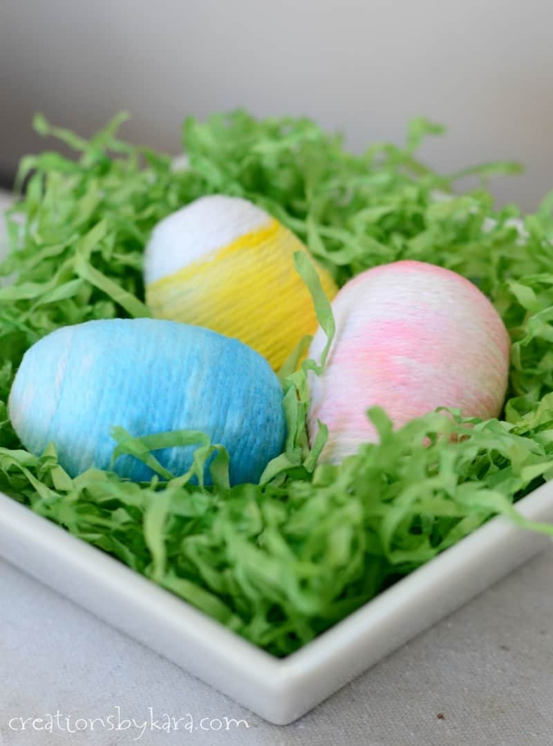 yarn wrapped ombre easter eggs