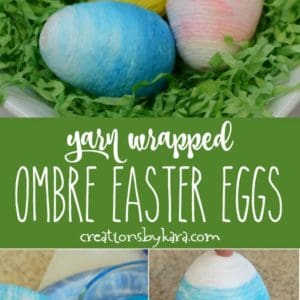 yarn wrapped ombre Easter eggs collage