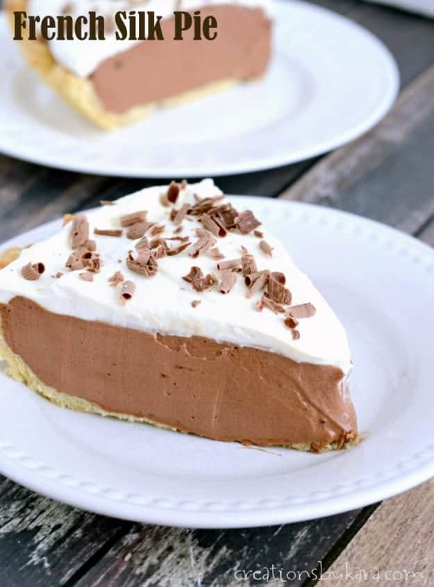slice of French Silk Pie on a white plate