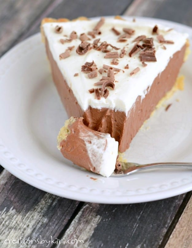 close up of French silk pie with a fork