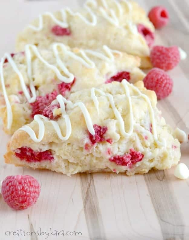 close up of white chocolate raspberry scones