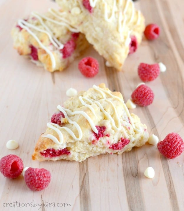 White Chocolate Raspberry Scones on a cutting board