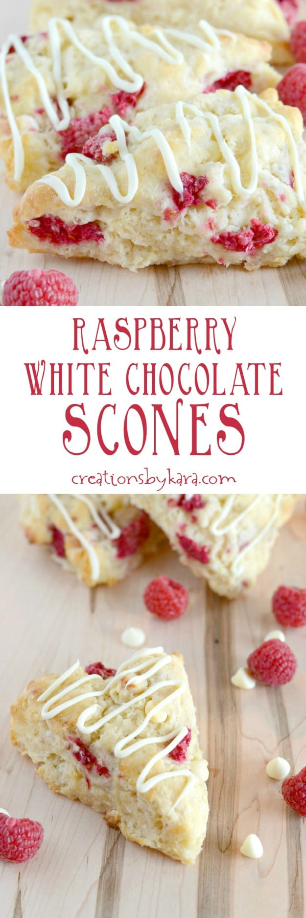 raspberry white chocolate scones recipe collage