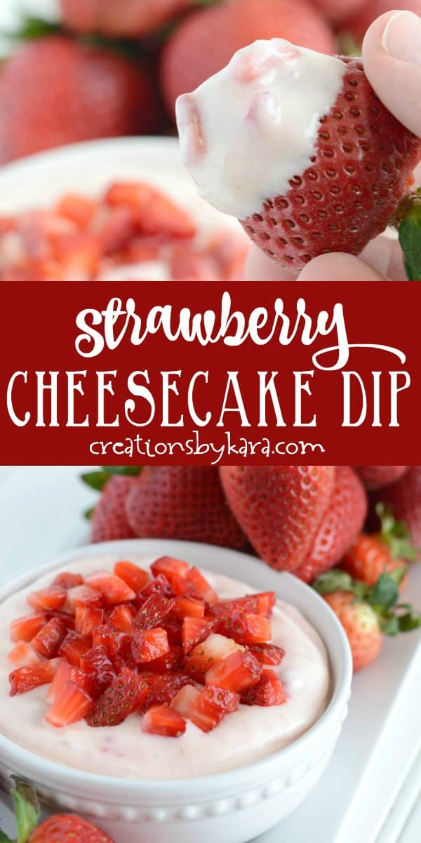 strawberry cheesecake dip recipe collage