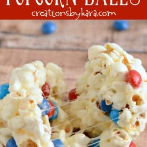 marshmallow popcorn ball with red, white, and blue skittles candy