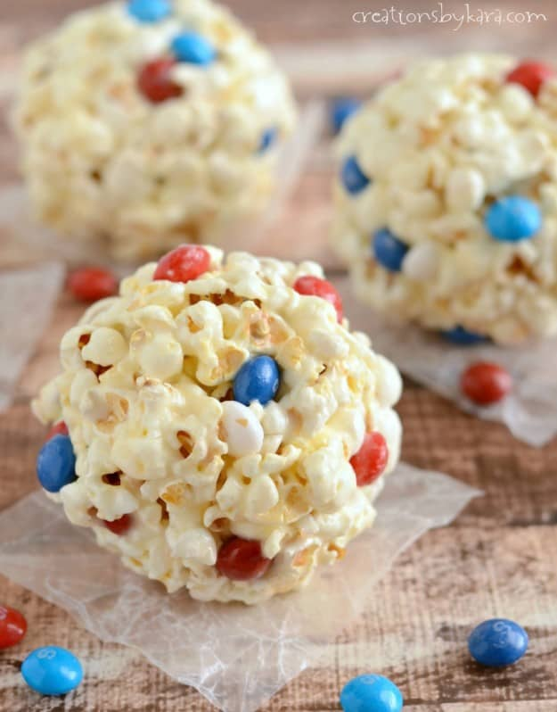 Marshmallow Popcorn Balls with Skittles - a fun and easy treat!