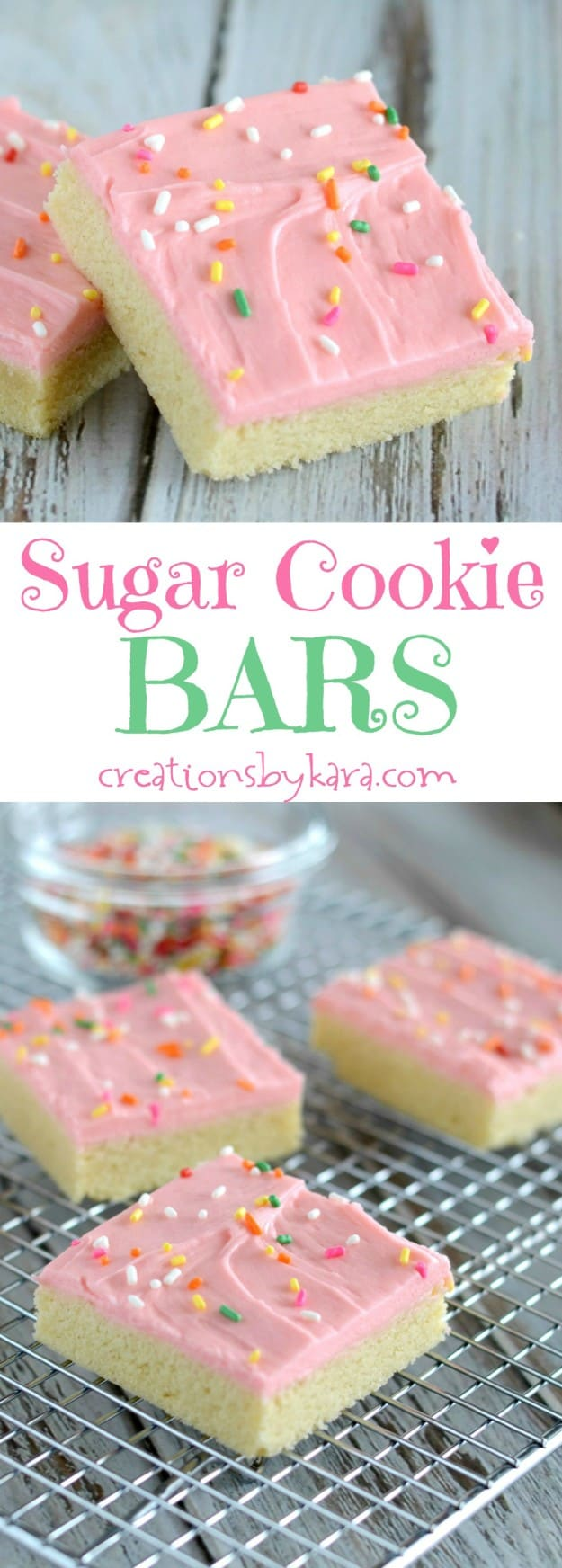 sugar cookie bars recipe collage