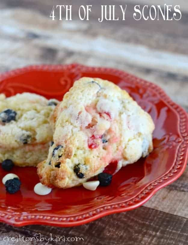 4th of July Scones on a red plate