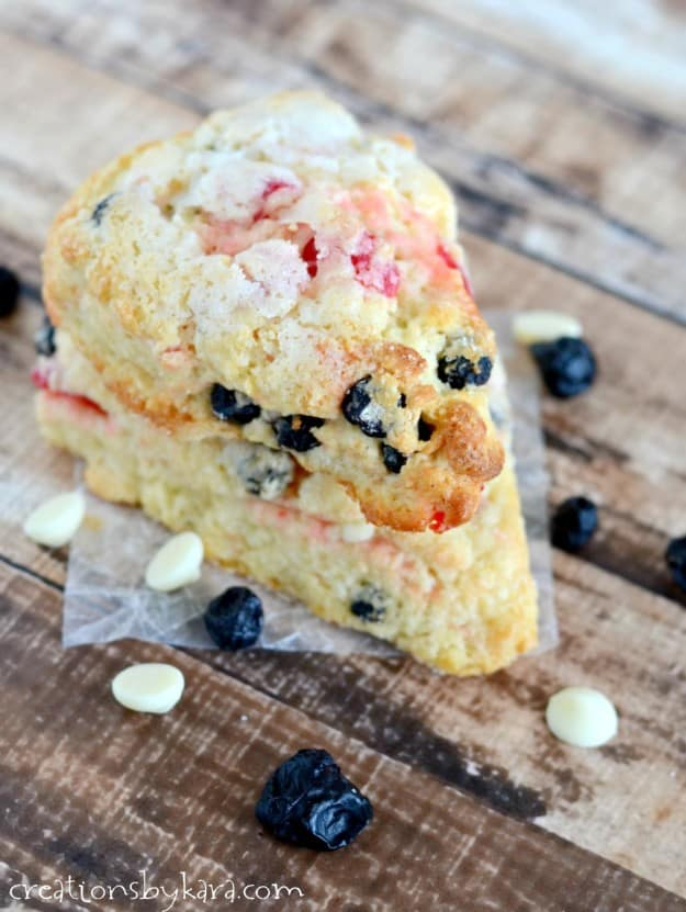 stack of scones with blueberries, cherries, and white chocolate