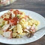 Loaded with yummy ingredients, this Chicken Bacon Ranch Pasta Salad is sure to become a favorite salad recipe!
