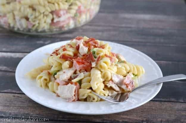 Chicken Bacon Ranch Pasta salad makes a hearty, tasty, and refreshing summer meal!