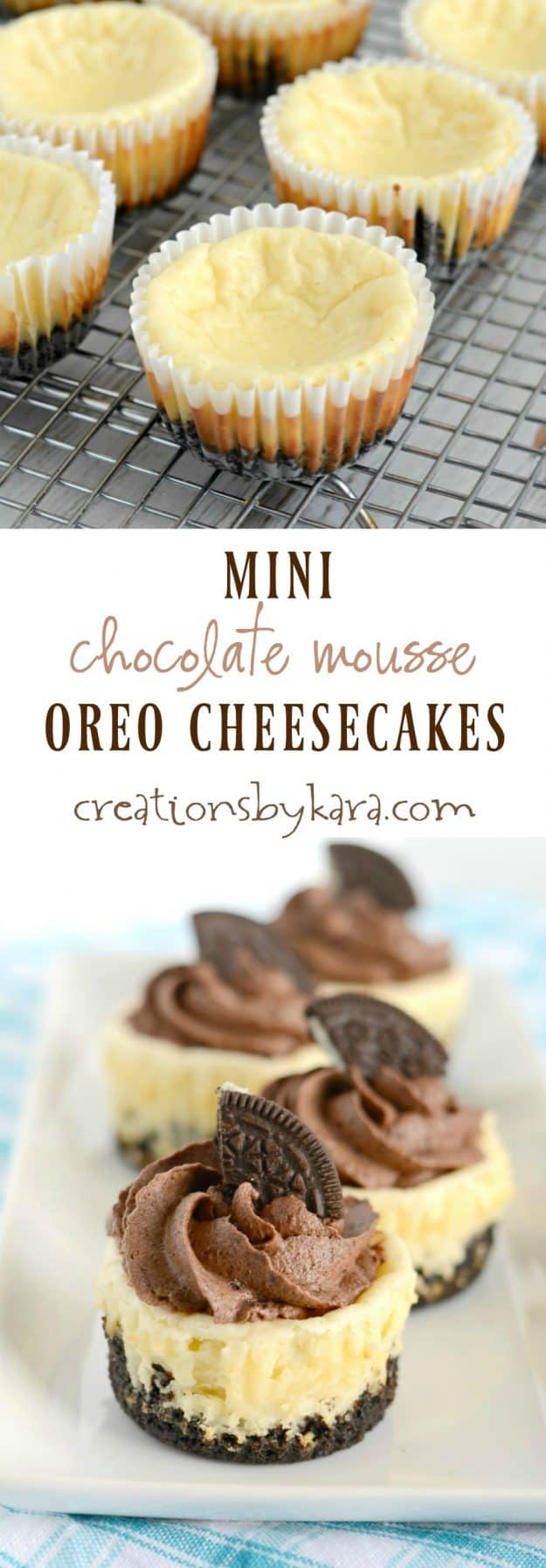Mini Oreo Cheesecakes with Chocolate Mousse - Creations by Kara