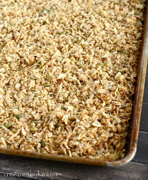 homemade granola on a cookie sheet