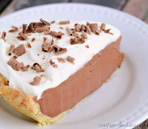 slice of French silk pie taken from the side