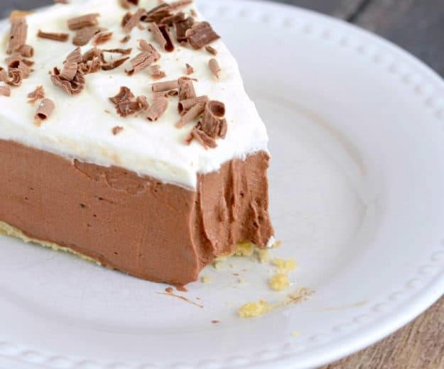 French silk pie with a bite taken out of it