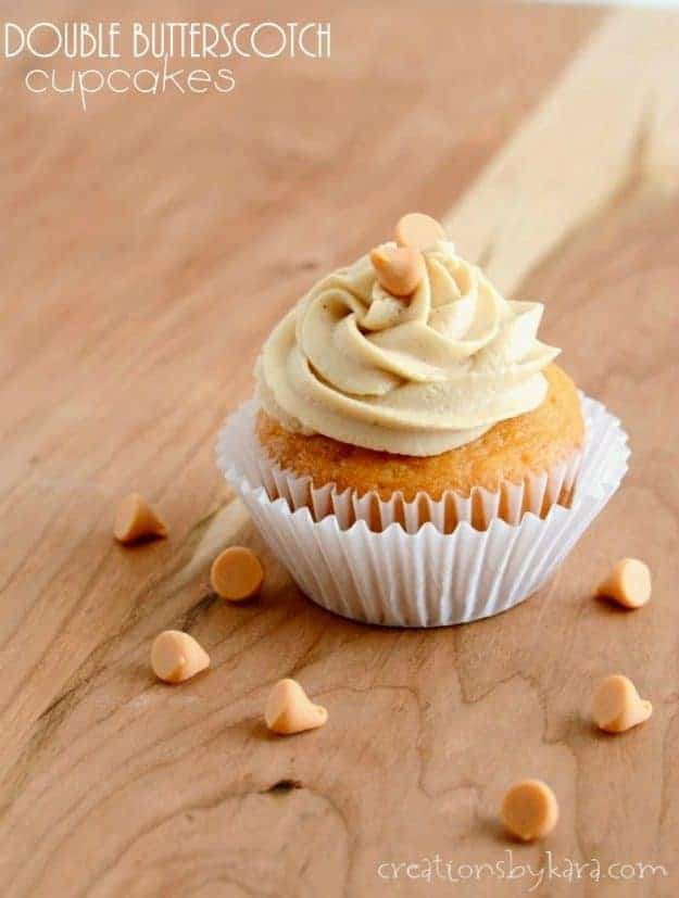 Butterscotch Cupcakes with butterscotch frosting. Pudding in the batter gives these cupcakes great flavor, and keeps them moist and delicious!