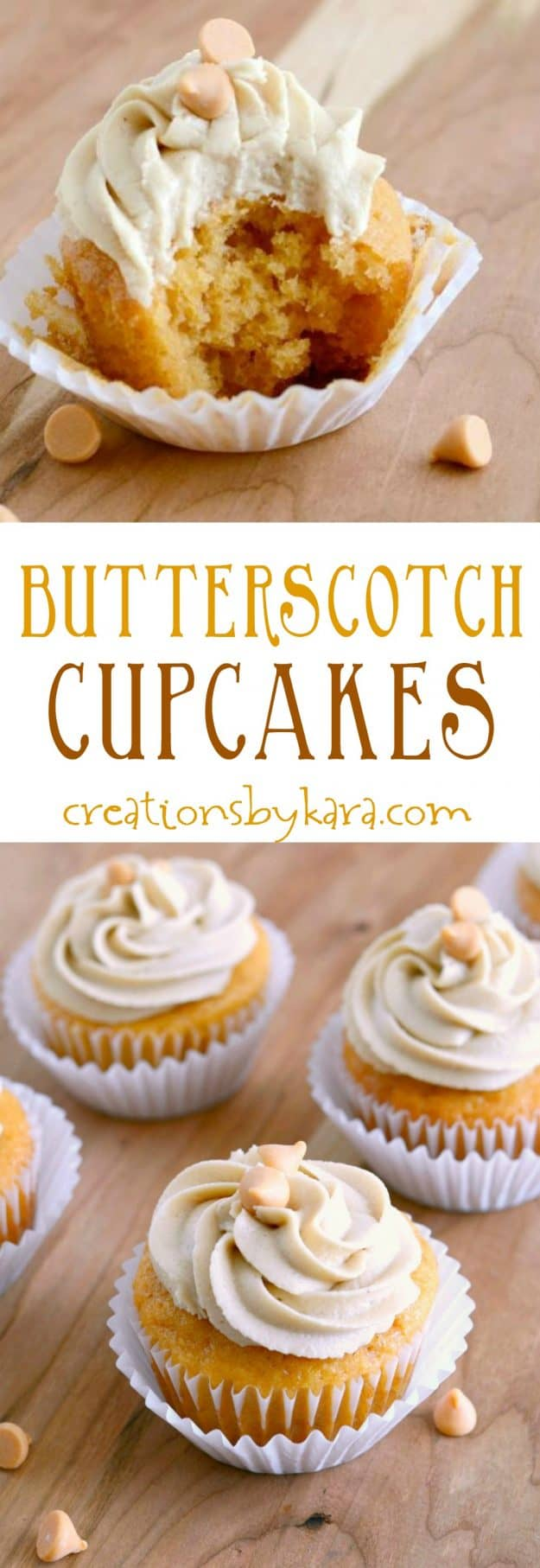 butterscotch cupcakes recipe collage
