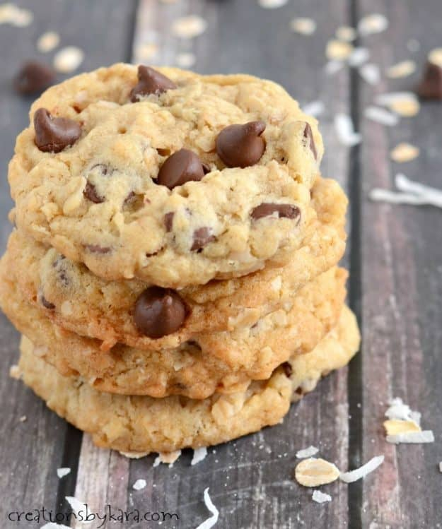 Crisp on the edges, chewy in the center, these coconut oatmeal chocolate chip cookies are to die for!