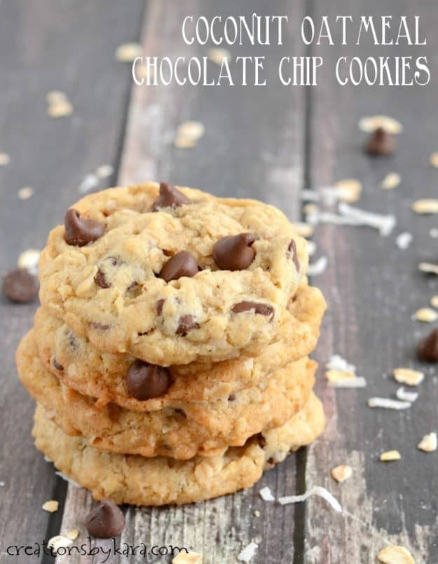 Coconut Oatmeal Chocolate Chip Cookies -these cookies are soft, chewy, and crunchy all in one. So good!