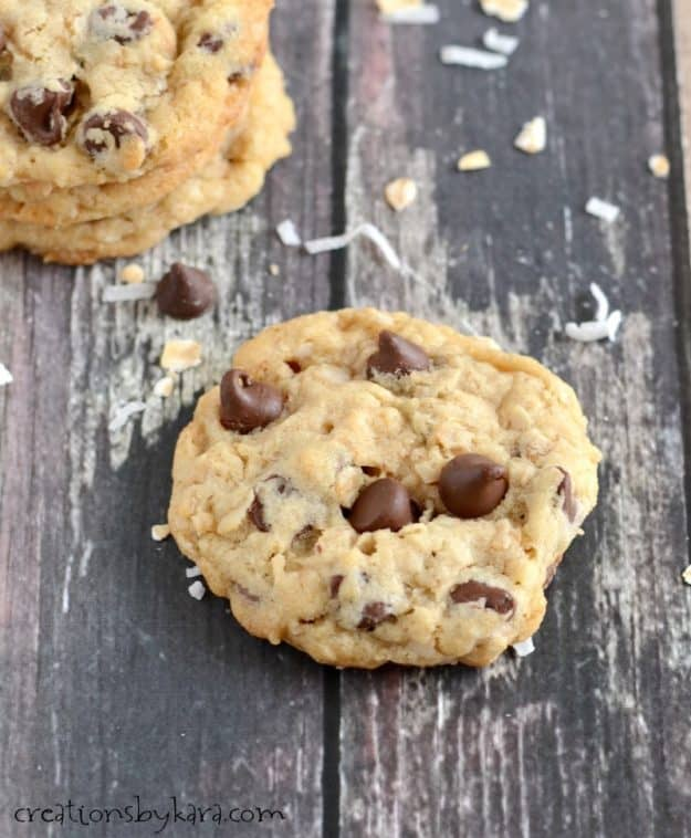 Soft and chewy coconut oatmeal chocolate chip cookies