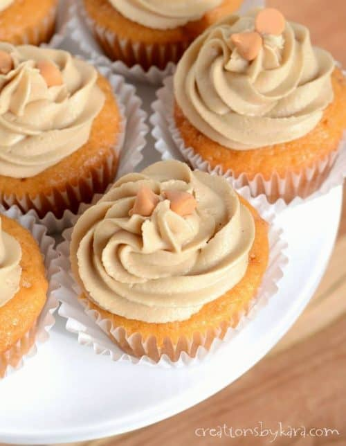 Triple butterscotch cupcakes. These cupcakes are moist, delicious, and topped with a fantastic homemade frosting!