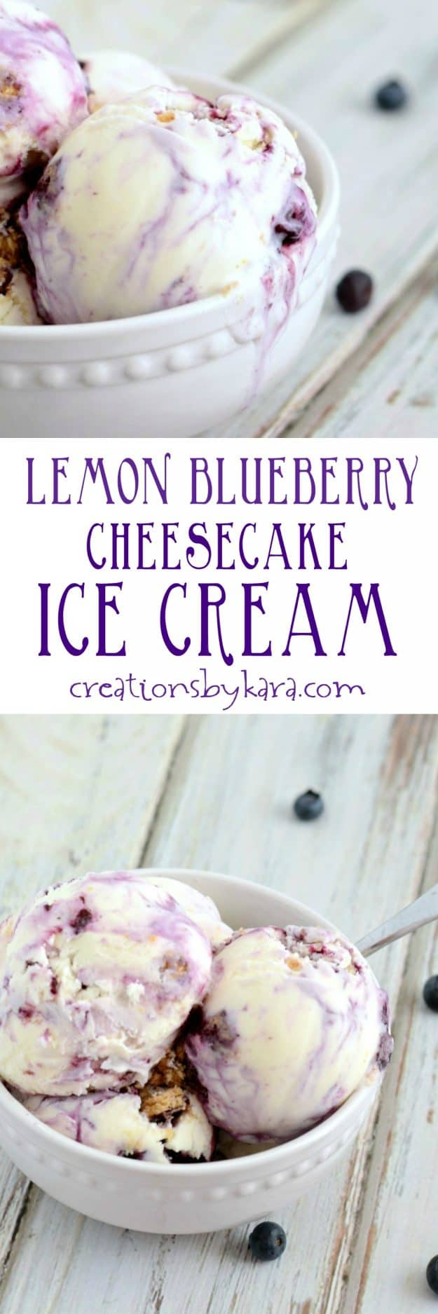 lemon blueberry cheesecake ice cream recipe collage