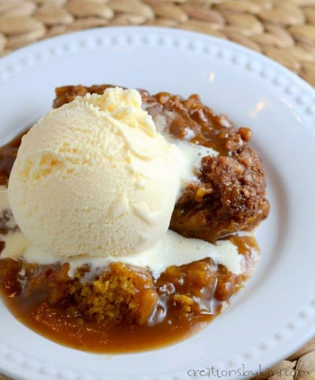 Magic Pumpkin Cobbler topped with ice cream.
