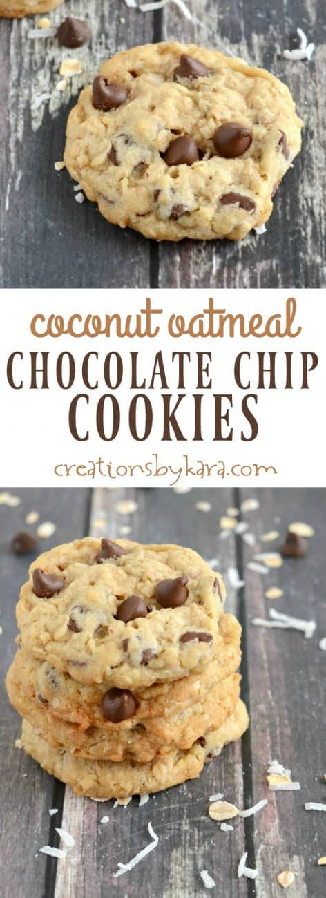 Oatmeal Chocolate Chip Cookies with toasted coconut and coconut oil