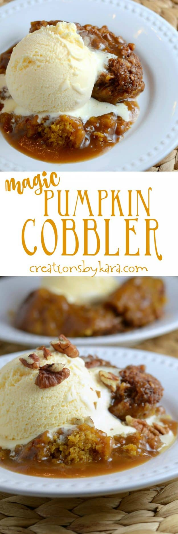 easy pumpkin cobbler recipe collage