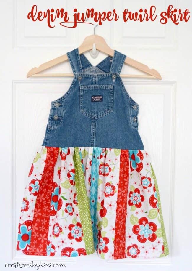 handmade denim jumper twirl skirt on a hanger