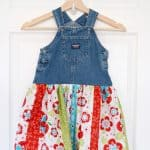How to make a darling denim jumper twirl skirt from thrift store clothing.