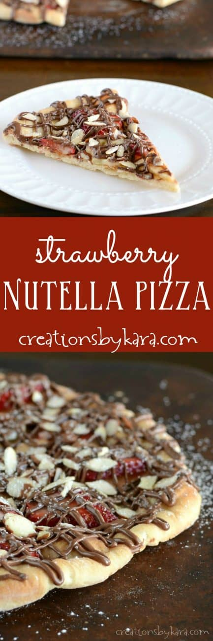 Topped with strawberries, bananas, almonds, and Nutella, this Strawberry Nutella Pizza is simply scrumptious!