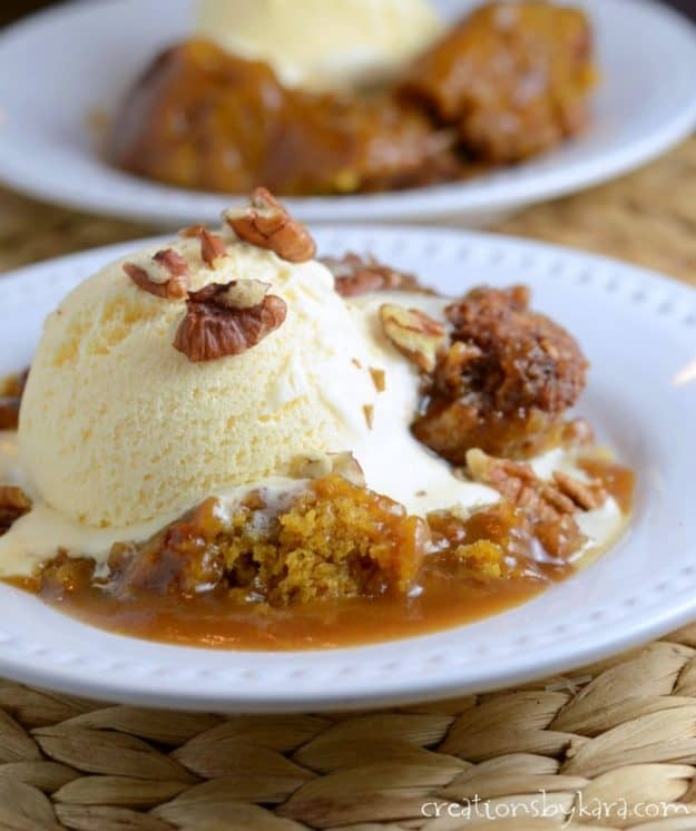 Recipe for absolutely delicious Pumpkin Cobbler. A perfect fall dessert. Vanilla ice cream is a must!