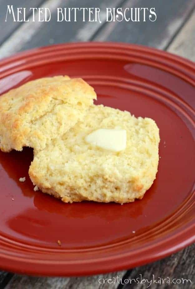 This recipe for Melted Butter Biscuits will become your new favorite biscuit recipe. No cutting butter required!