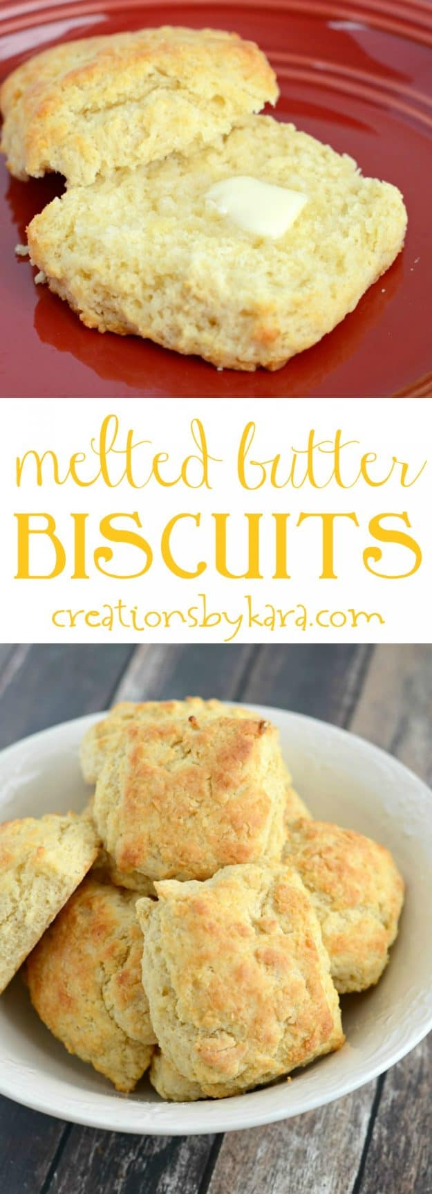 Recipe for melt in your mouth biscuits that are so simple to make. These Melted Butter Biscuits are a new family favorite. They are perfect with a bowl of soup, or served with butter and jam.