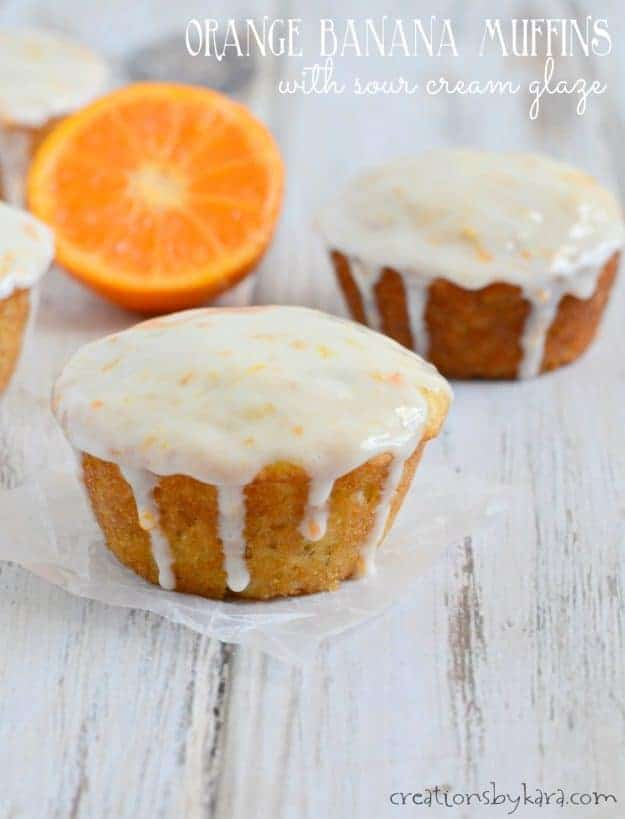 orange banana muffins with sour cream glaze title photo
