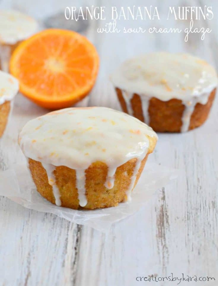 Orange Banana Muffins with Sour Cream Glaze