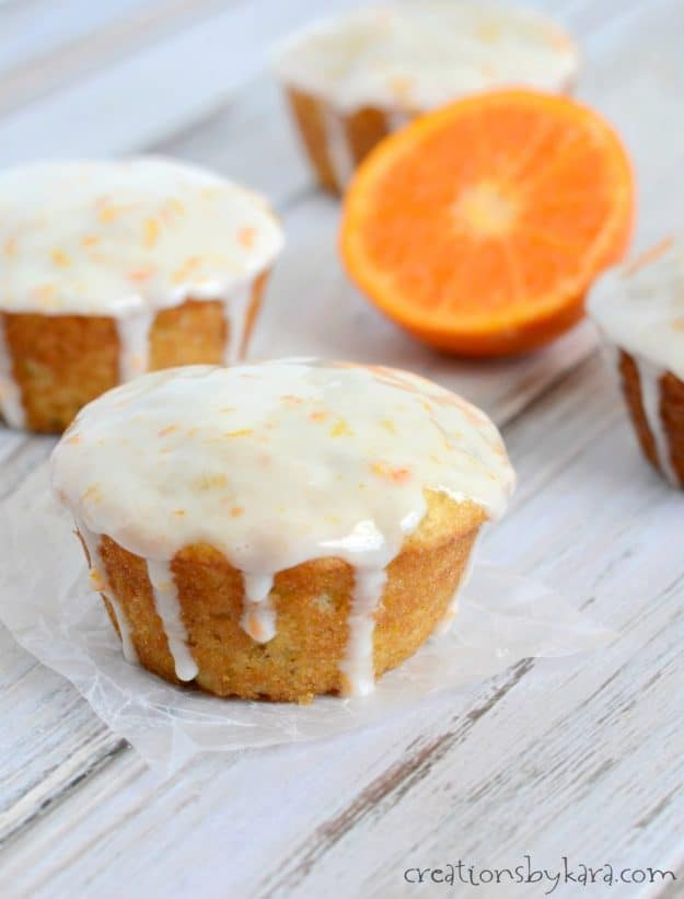 close up of glazed orange banana muffin