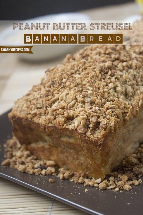 Peanut Butter Streusel Banana Bread Recipe photo for Swankyrecipes.com