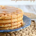 Peanut Butter Waffles with Peanut Butter Syrup - a tasty way to pack more protein into breakfast!