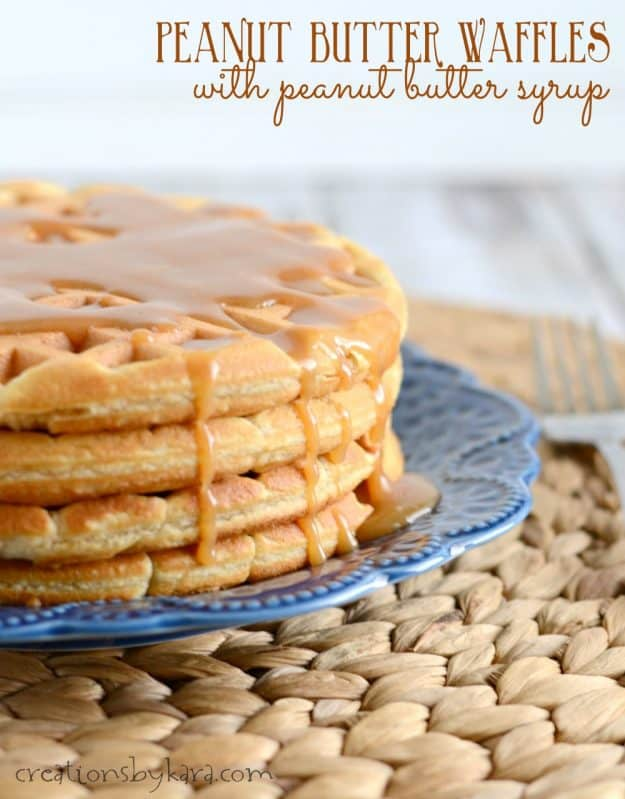 peanut butter waffles with peanut butter syrup title pin